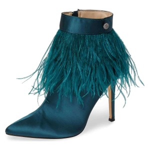 Teal Satin Feather Stiletto Heel Ankle Booties