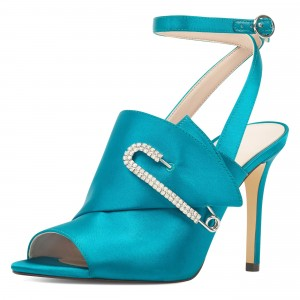 Teal Satin Pin Ankle Strap Sandals Peep Toe Stiletto Heel Sandals