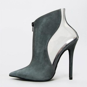 Teal Suede and Clear Stiletto Heel Ankle Booties