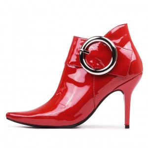 Red Fashion Boots Pointy Toe Buckle Stiletto Heel Ankle Boots