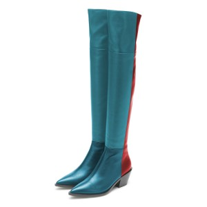 Tri-Color Pointy Toe Over-the-Knee Women's Fashion Boots