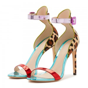 Tri Color Leopard Print Heels Ankle Strap Sandals