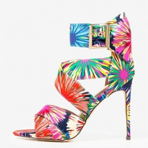 Tropical Floral Heels Ankle Strap Stiletto Heel Sandals