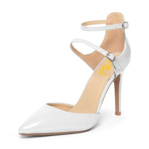 Women's White Pointed Toe Ankle Strap heels  Pumps