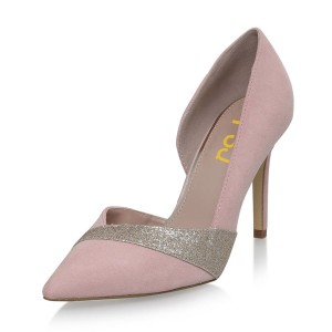 4 inch Heels Pink Pointed Toe Glitter Stiletto Heels Pumps