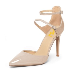 Women's Nude Office Heels Ankle Strap Heels Pointed Toe Stiletto Heels