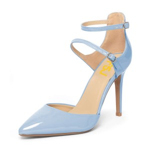 Women's Light Blue Pointed Toe Ankle Strap Heels Pumps