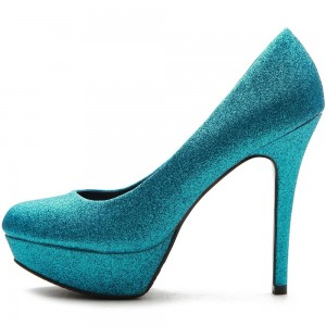 Turquoise Almond Toe Platform Heels Glitter High Heel Pumps for Women