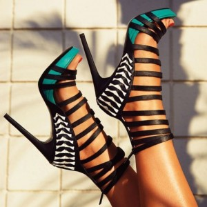 Women's Turquoise and Black Stiletto Heels Open Toe Platform Strappy Sandals