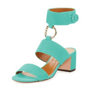 Turquoise Ankle Strap Block Heels Sandals