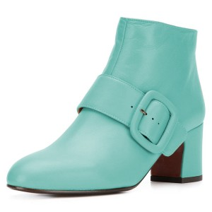 Turquoise Buckle Block Heel Ankle Booties