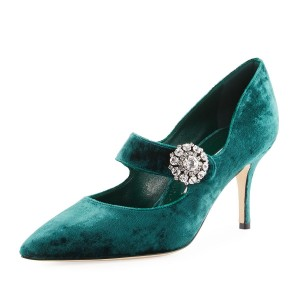 Teal Heels Rhinestone Stiletto Heels Mary Jane Pumps