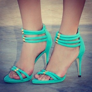Turquoise Heels Ankle Strap Sandals 3 inch Stiletto Heels Sandals
