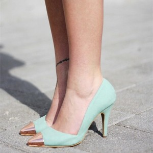 Turquoise Heels Pointy Toe Stiletto Heels Pumps