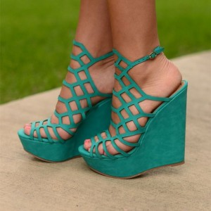 Turquoise Wedge Sandals Peep Toe Laser Cut Slingback Cage Sandals