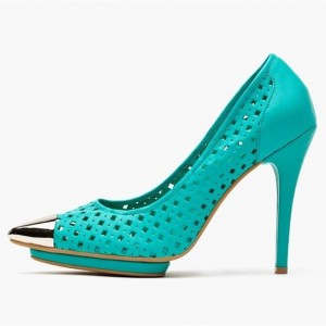 Turquoise Hollow out Teal Shoes Pointy Toe Stiletto Heels Pumps