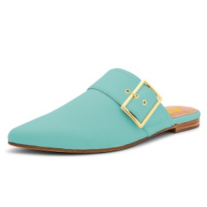 Cyan Pointy Toe Flats Buckle Mules Comfortable Loafers for Women