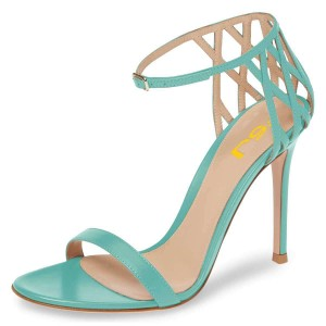 Turquoise Stiletto Heel Ankle Strap Sandals for Women