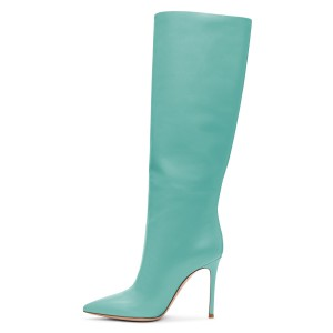 Turquoise Stiletto Heels Knee-high Heeled Boots