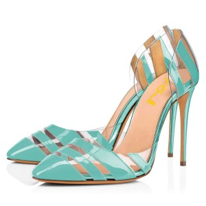 Turquoise Stiletto Heels Patent Leather Clear PVC Pumps