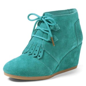 Turquoise Suede Lace Up Wedge Booties