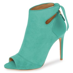 Turquoise Suede Peep Toe Cut Out Bow Stiletto Heel Ankle Booties