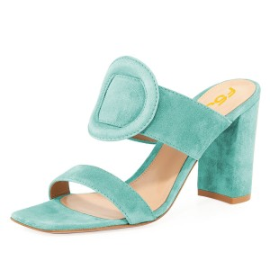 Turquoise Suede Square Toe Chunky Heel Mule Sandals