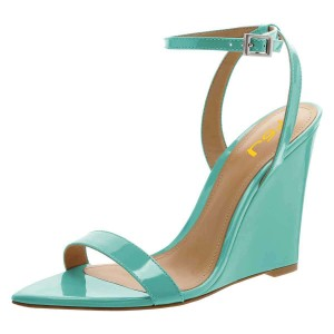 Turquoise Wedge Heels Patent Leather Slingback Ankle Strap Sandals