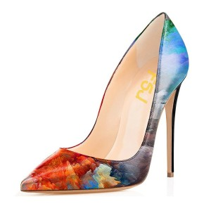 Blue Astral Floral Heels Pointed Toe Stiletto Heels Pumps Shoes