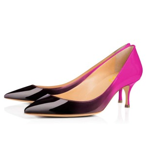 Violet and Black Gradient Kitten Heels Pointy Toe Patent Leather Pumps