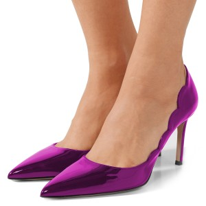 Violet Mirror Leather Curvy Stiletto Heels Pumps