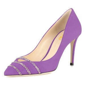 Violet Rhinestones Stiletto Heels Pumps for Office Lady