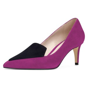Purple Stiletto Heels Pointy Toe Suede Pumps