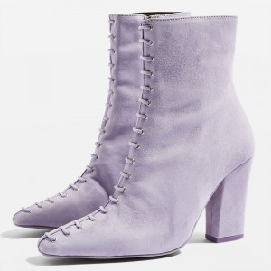 Violet Suede Lace Up Chunky Heel Boots