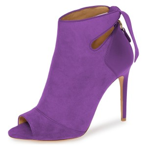 Purple Fall Boots Peep Toe Back Tie Stiletto Heel Ankle Booties