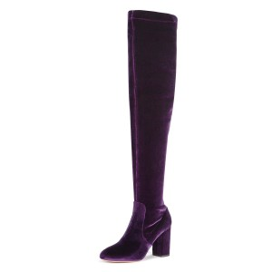 Violet Velvet Chunky Heel Boots Over-the-knee Boots