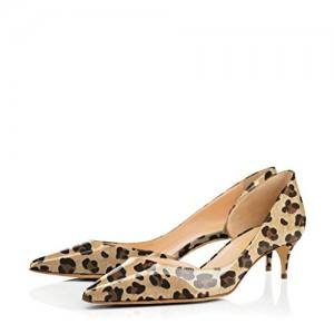 Lilian Brown Leopard-Print Kitten Heel Pumps For Women