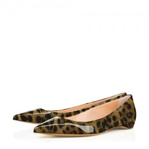 Women's Patent Brown Low Cut Upper Pointed Toe Leopard Print Flats