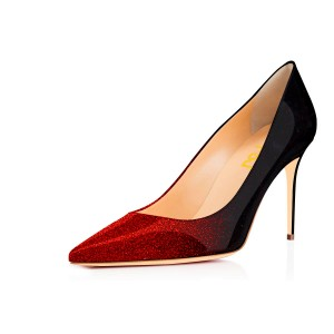 Red and Black Gradient Color Glitter Formal Shoes Pointed Toe Stiletto Heel Pumps