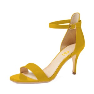 Yellow Patent Leather Stiletto Heel Ankle Strap Sandals