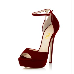 Burgundy Heels Peep Toe Ankle Strap Suede Stiletto Heel Office Sandals