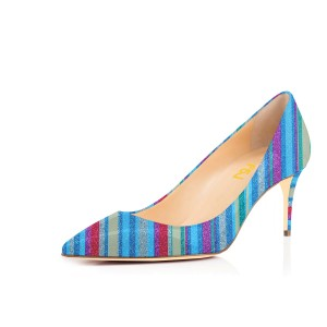 Women's Rainbow Pointed Pencil Heel Pumps 4 Inch Heels