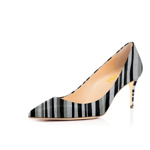 Women's Spring Black&Grey Stripes Pencil Heel Pumps Office Heels