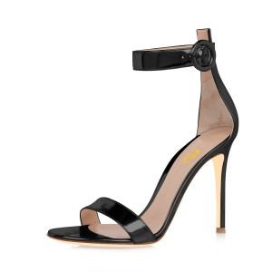 Women's Black Metal Leather Stiletto Heel  Ankle Strap Sandals
