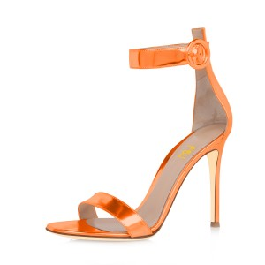 Women's Orange Metal Leather Stiletto Commuting Heel Ankle Strap Sandals