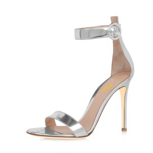 Silver Ankle Strap Sandals 3 Inch Stiletto Heels Shoes