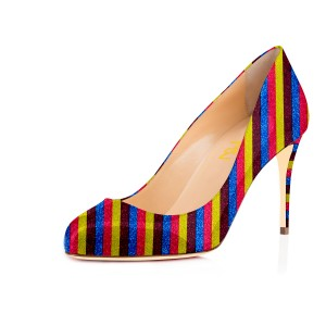 Women's Spring Maroon Stripes Multi-color Round Pencil Heel Pumps