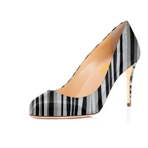 Black and Silver Stripes Stiletto Heels Round Toe Pumps
