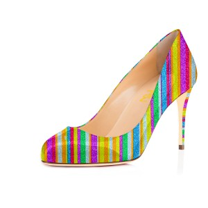 Women's Spring Stripes Colorful Round Pencil Heel Pumps