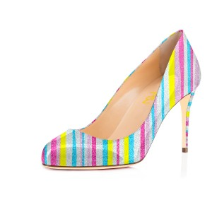 Women's Spring Light Grey Stripes Multi-color Round Pencil Heel Pumps